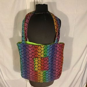 Handbags - Quilted rainbow peace sign tote with neon liner